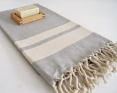 SALE 50 OFF/ Turkish Beach Bath Towel Peshtemal / Gray  - Beige Striped / Wedding Gift, Spa, Swim, Pool Towels and Pareo