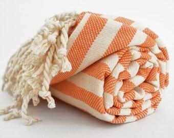 SALE 50 OFF/ Turkish Beach Bath Towel Peshtemal / Coral Striped / Bath, Beach, Spa, Swim, Pool Towels