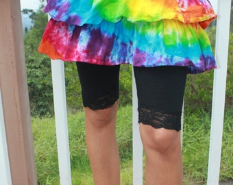 Tie dye tiered skirt Size Small upcycled