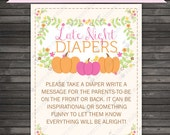 Girl Little Pumpkin Baby Shower Late Night Diaper Game Printable - Diaper Thoughts Message Game - Instant Download - Pink Baby Shower