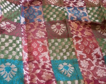 Grid of colors  - 1 yard of Cotton Silk Brocade Fabric in maroon, blue, green and teal