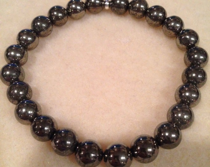 Pyrite Bracelet, Pyrite Stretch Bracelet, 8mm Bead Bracelet - Stretch Bracelet, Beaded Bracelet, Couples Bracelets, Gifts for Him