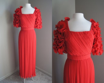 Vintage 60'S ALFRED BOSAND Gown Red Gown Ruffle Gown Couture Gown Red Carpet Gown Red Gown Small Medium Couture Dress Red Dress Evening Gown