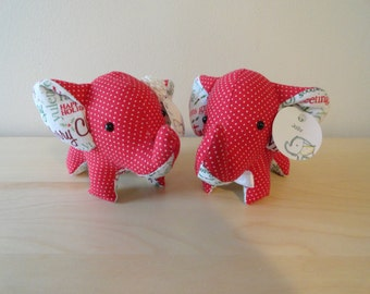 Tiny Stuffed Couple Elephants- Holly and Jolly