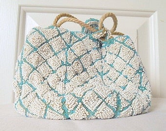 Vintage beaded drawstring blue and white evening Bag