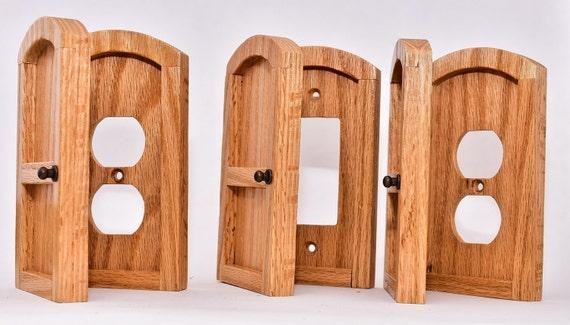 Outlet light switch cover door set oak