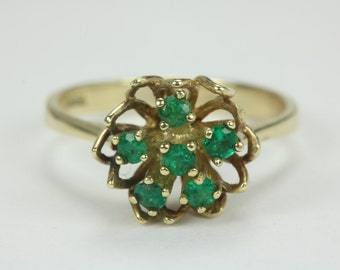 Floral Delight! 0.39tcw Colombian Emerald & Gold Floral Ring 14k