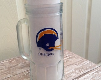 Vintage San Diego Chargers, Clear Glass Mug, by Fisher