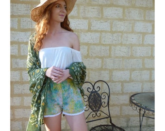 Rainbow Lace Short, Festivalwear, Boho Womens Short, Rainbow Festival Fashion, Womens Floral Short, Boho Batik Festival Short