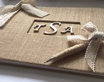 Rustic Burlap and Lace Guestbook w/Pen- Personalized Monogram Guest Book - Barn Wedding - Burlap Guestbook  (Custom Colors Available)