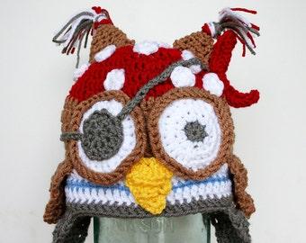 Newborn Pirate Owl Hat, pirate costume, owl costume, baby halloween costume, animal costume, pirate owl costume, Newborn Baby to 12 Months