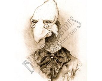 "Old Timey Prehistoric Bird Portrait, Phorusrhacos, 8""x10"" Print, Animal Art, Fancy, Vintage, Drawing"