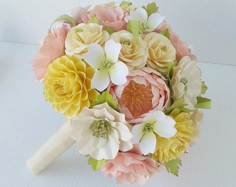 Paper Bouquet - Paper Flowers - Wedding Bouquet - Bride or Bridemaid - Annabel - Customize Your Colors - Made To Order