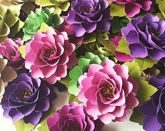 Paper Flowers - Weddings - Party Favors - Bridal Party- Place Cards - Escort Cards -  Set of 50 - Rustic Wine - Custom Colors Available