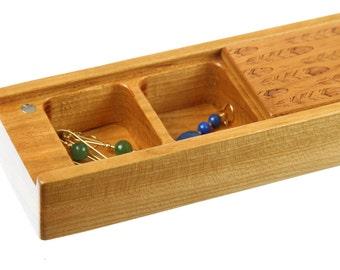 Earring Storage Box, Solid Cherry Hardwood, Laser Engraved FEATHER Pattern, Paul Szewc