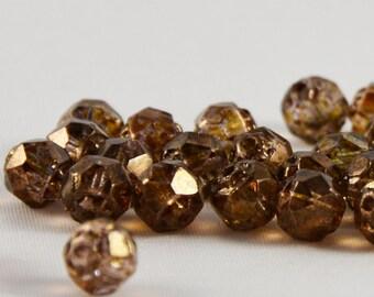 Czech Glass Beads Luster Transparent Gold  Topaz 6mm- 25 Beads