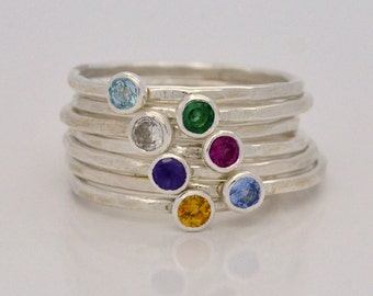 Birthstone Ring Stacking Rings - Personalized Gemstone Ring - Mothers Ring Great Gifts for Mom