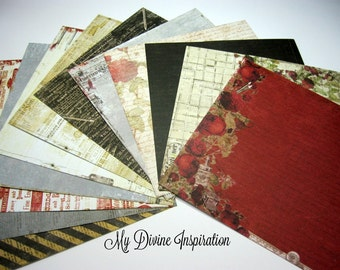 12 6 x 6 Prima Stationer's Desk Paper Collection, Paper Assortment for Scrapbooking Mini Albums Cards Tags and Papercrafts