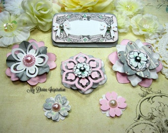 Teresa Collins Timeless Pink White Light Gray Handmade Paper Embellishments, Paper Flowers for Scrapbooking, Cards, Mini Albums Paper crafts