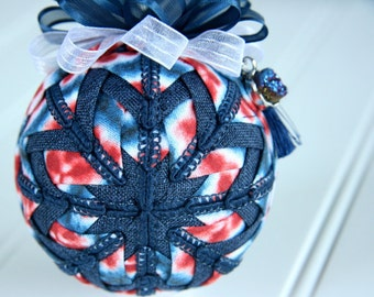 Bohemian Quilted Ornament Ball/Blue and Red - Free Spirit