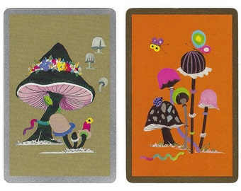 PSYCHEDELIC MUSHROOMS (2) Vintage Single Swap Playing Cards Paper Ephemera Scrapbook Supplies