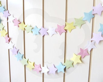 Pastel Baby Garland Felt Stars - made with wool blend felt in pastel rainbow colours, perfect for baby shower, new baby celebrations.