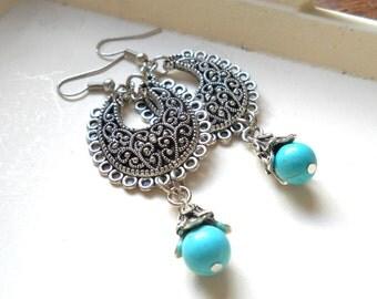 turquoise chandelier earrings turquoise dangle earrings turquoise earrings beaded silver and turquoise boho earrings gypsy earrings