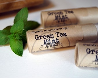 Green Tea and Mint Lip Balm - All Natural Lip Balm - organic - vegan lip balm