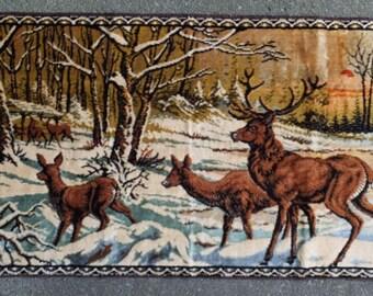 Vintage Made in Italy Italian Villa Rustic Cottage Cabin Inn Crushed Velvet Deer Doe Buck Tapestry Wall Hanging Rug