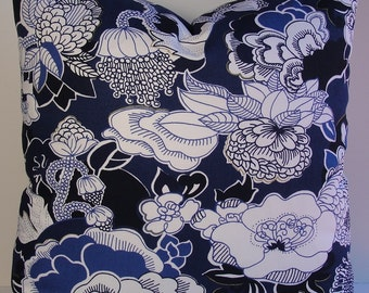 Indigo blue Chinoiserie floral Duralee decorative pillow cover, navy white metallic gold designer Asian pillow cover
