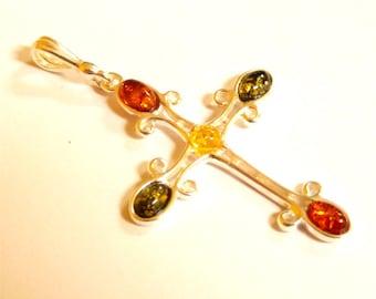 """Baltic Amber Cross Pendant Multicolor 2.1"""" 925 Silver"""