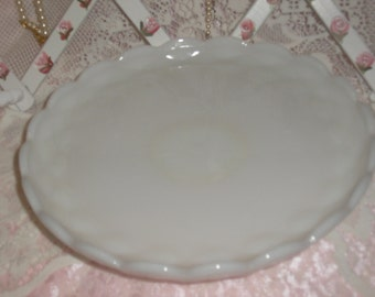 Antique Vintage Milk White Milk Glass Cake Stand Compote
