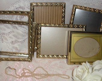 Lovely  Lot  Of 6 Gold Tone  Metal Picture Frame's