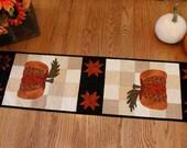 RESERVED for CAROL- Patchwork Quilted Runner / Quilted Table Runner / Primitive Table Runner / Country Pumpkin Patchwork