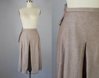 """1970s Vintage Perry Ellis Cotton Wrap Midi Skirt (S, M; 28"""" Waist)"""