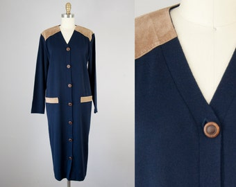 1980s Vintage Navy and Suede Sweater Dress. 80s Long Cardigan (L)