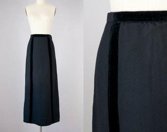 """1960s Vintage Velvet Stripe Wool High Waisted Tailored Maxi Skirt (S, M; 27"""" Waist)"""