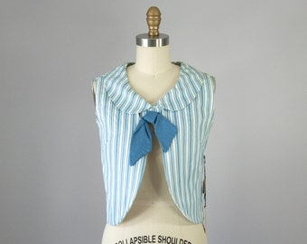 1960s Vintage Blue and White Chambray Bow Open Cropped Blouse. Deadstock (XS, S)