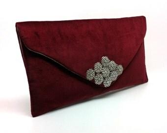 Red Velvet Envelope Bag Coin Purse Wallet Silver Jewel Embellishment Gift for Women Grey Silk Clutch Magnetic Snap