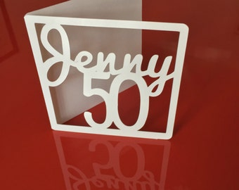 Fiftieth 50th Birthday card, Custom made for you, Ships fast and free