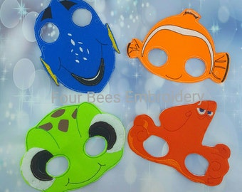 Fish turtle octopus  set Embroidered felt play mask costume Finding Dory nemo squirt hank fans child size