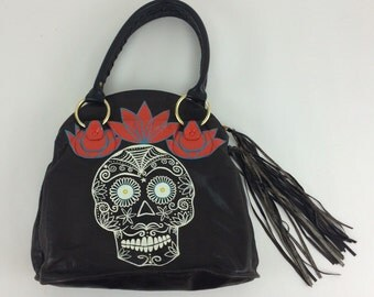 Sugar Skull: upcycled hand painted leather Bulga purse