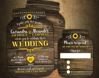 mason jar wedding invitation  etsy, Wedding invitations
