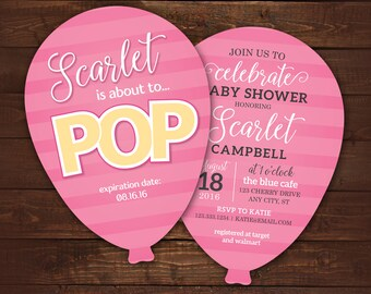 10 balloon shaped invitations, About to Pop Baby Shower Invite, Die Cut Balloon Invitation with envelopes, any color