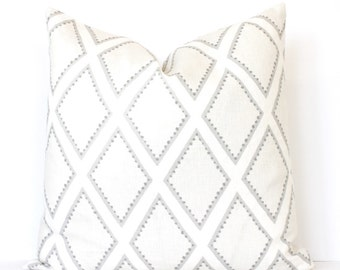"Oyster Diamonds decorative Designer Pillow Cover Accent Throw Cushion geometric modern lattice trellis linen gray beige neutral linen 22"""