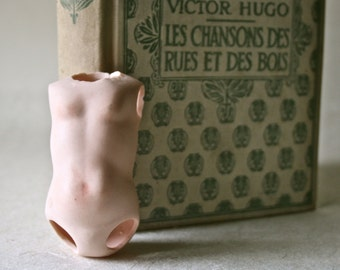 Small Porcelain Bisque Doll Torso with Heart Tattoo for Altered Art Doll Making