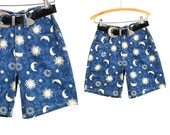 Vintage 1990's Cosmic Sun Moon and Stars High Waist Shorts by Sostanza Comtemporary Apparel Women's Size 5/6 Cotton Summer Shorts with Belt