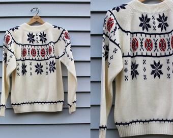 Vintage Vtg Vg JcPenney's 1970's Nordic Alpine Ski Apres Ski Festive Holiday Sweater Acrylic Unisex Adults Size Medium Retro Hipster Winter