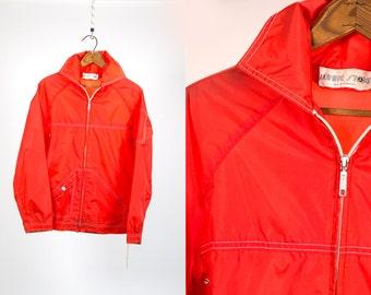 Vintage 1970's White Stag Retro Nylon Wind Breaker Red Zip Up Jacket Men's Size Medium Hipster Vtg Vg Spring/Summer Gear