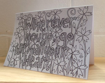 Positive Quote Card, Blank Note Card, Original Abstract Floral Hand Drawn Card, Birthday Card, friendship card, Art Card.